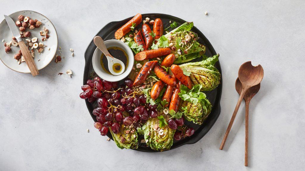 Varm grillsallad med vindruvor och Chorizo